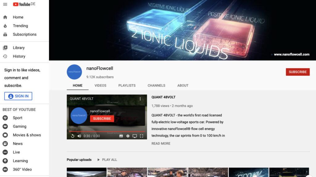 nanoFlowcell YouTube Social Media Management
